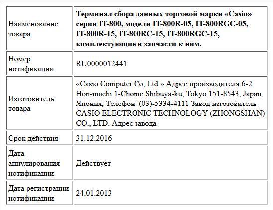 Терминал сбора данных торговой марки «Casio» серии IT-800,  модели IT-800R-05, IT-800RGC-05, IT-800R-15, IT-800RC-15, IT-800RGC-15, комплектующие и запчасти к ним.