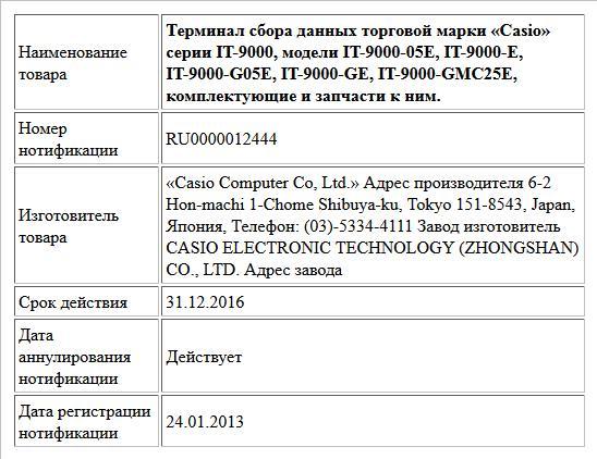 Терминал сбора данных торговой марки «Casio» серии IT-9000,   модели IT-9000-05E, IT-9000-E, IT-9000-G05E, IT-9000-GE, IT-9000-GMC25E, комплектующие и запчасти к ним.