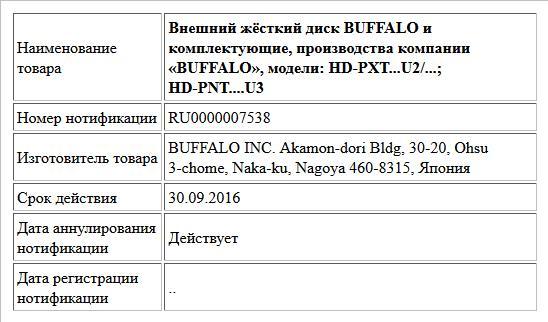 Внешний жёсткий диск BUFFALO и комплектующие, производства компании «BUFFALO», модели: HD-PXT...U2/...; HD-PNT....U3