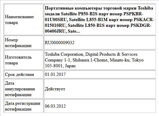 Портативные компьютеры торговой марки Toshiba модели Satellite P850-B2S  парт номер PSPKBR-01U00SRU, Satellite L855-B1M парт номер PSKACR-015010RU, Satellite L850-B1S  парт номер PSKDGR-00400JRU, Sate...