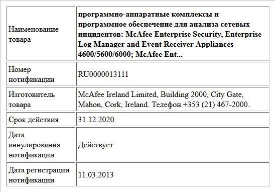 программно-аппаратные комплексы и программное обеспечение для анализа сетевых инцидентов:  McAfee Enterprise Security, Enterprise Log Manager and Event Receiver   Appliances 4600/5600/6000; McAfee Ent...