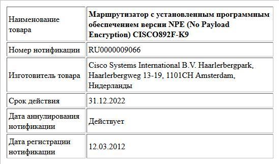 Маршрутизатор с установленным программным обеспечением версии NPE (No Payload Encryption)  CISCO892F-K9