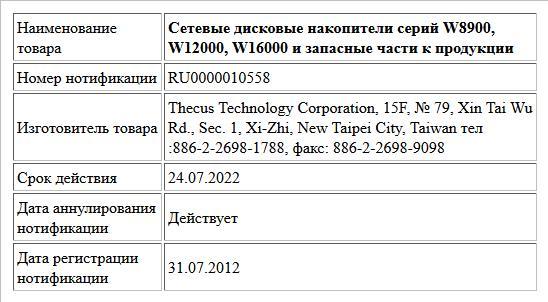 Сетевые дисковые накопители серий W8900, W12000, W16000 и запасные части к продукции