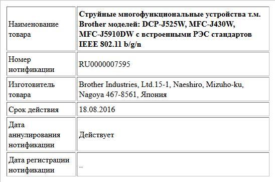 Струйные многофункциональные устройства т.м. Brother моделей: DCP-J525W, MFC-J430W, MFC-J5910DW с встроенными РЭС стандартов IEEE 802.11 b/g/n