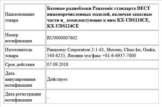 Базовые радиоблоки Panasonic стандарта DECT нижеперечисленных моделей, включая запасные части и_ комплектующие к ним KX-UDS118CE, KX-UDS124CE