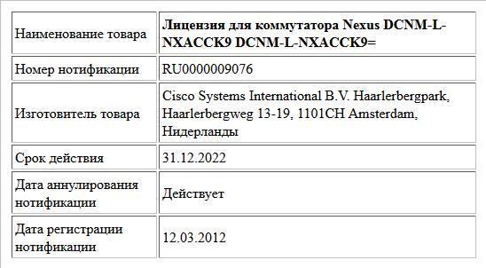 Лицензия для коммутатора Nexus  DCNM-L-NXACCK9  DCNM-L-NXACCK9=