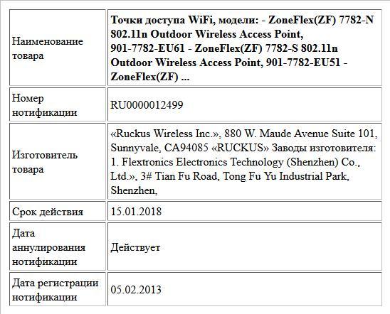 Точки доступа WiFi, модели:   - ZoneFlex(ZF)  7782-N 802.11n Outdoor Wireless Access Point, 901-7782-EU61  - ZoneFlex(ZF)  7782-S 802.11n Outdoor Wireless Access Point, 901-7782-EU51  - ZoneFlex(ZF)  ...