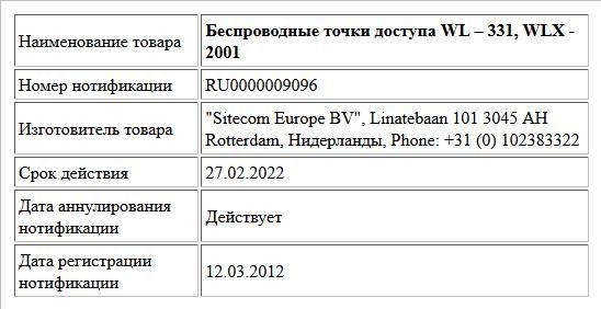 Беспроводные точки доступа WL – 331, WLX - 2001