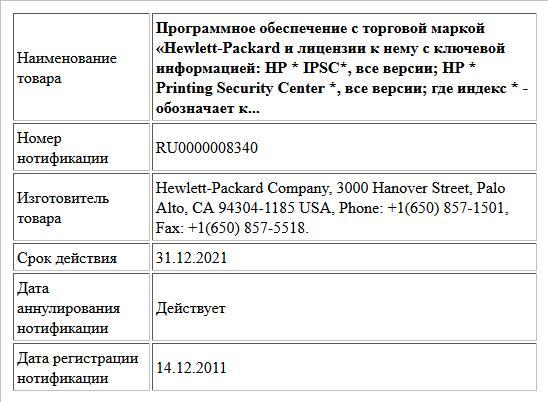 Программное обеспечение с торговой маркой «Hewlett-Packard и лицензии к нему с ключевой информацией:  HP * IPSC*, все версии;  HP * Printing Security Center *, все версии;  где индекс * - обозначает к...