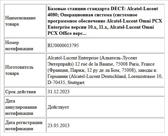 Базовые станции стандарта DECT:  Alcatel-Lucent 4080;  Операционная система (системное программное обеспечение Alcatel-Lucent Omni PCX Enterprise версии 10.х, 11.х, Alcatel-Lucent Omni PCX Office верс...