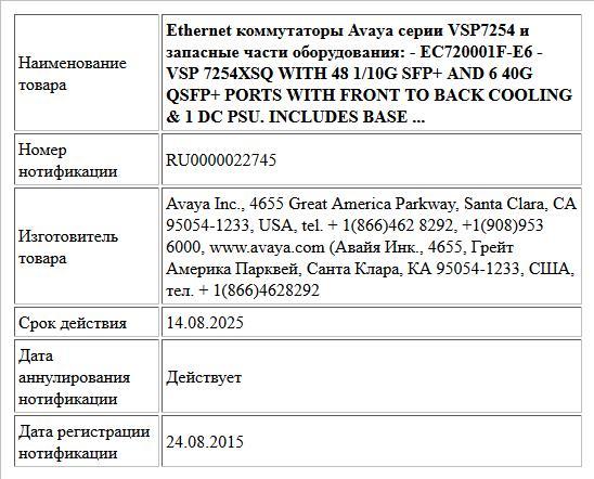 Ethernet коммутаторы Avaya серии VSP7254 и запасные части оборудования:  - EC720001F-E6 - VSP 7254XSQ WITH 48 1/10G SFP+ AND 6 40G QSFP+ PORTS   WITH  FRONT TO BACK COOLING & 1 DC PSU.  INCLUDES BASE ...