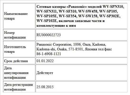 Сетевые камеры «Panasonic» моделей WV-SPN310,  WV-SFN311, WV-SF310, WV-SW458, WV-SP105,  WV-SP105E, WV-SF354, WV-SW158, WV-SP302E, WV-SP102E, включая запасные части и комплектующие к ним