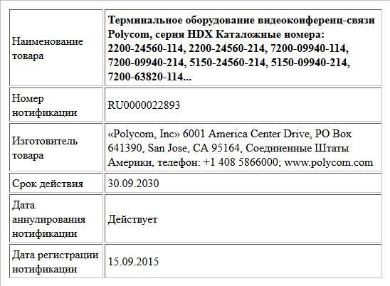 Терминальное оборудование видеоконференц-связи Polycom,  серия HDX Каталожные номера: 2200-24560-114, 2200-24560-214, 7200-09940-114, 7200-09940-214, 5150-24560-214,  5150-09940-214, 7200-63820-114...
