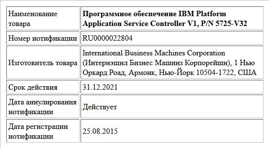 Программное обеспечение IBM Platform Application Service Controller V1, P/N 5725-V32