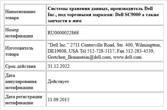 Системы хранения данных, производитель Dell Inc., под торговыми марками: Dell   SC9000  а также запчасти к ним