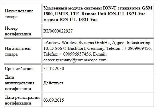 Удаленный модуль системы ION-U стандартов GSM 1800, UMTS, LTE. Remote Unit ION-U L 18/21-Vac модели ION-U L 18/21-Vac