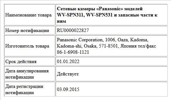 Сетевые камеры «Panasonic» моделей WV-SPN311, WV-SPN531 и запасные части к ним