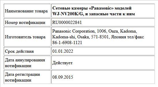 Сетевые камеры «Panasonic» моделей WJ-NV200K/G, и запасные части к ним