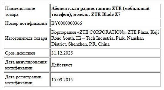 Абонентская радиостанция ZTE (мобильный телефон), модель: ZTE  Blade  Z7