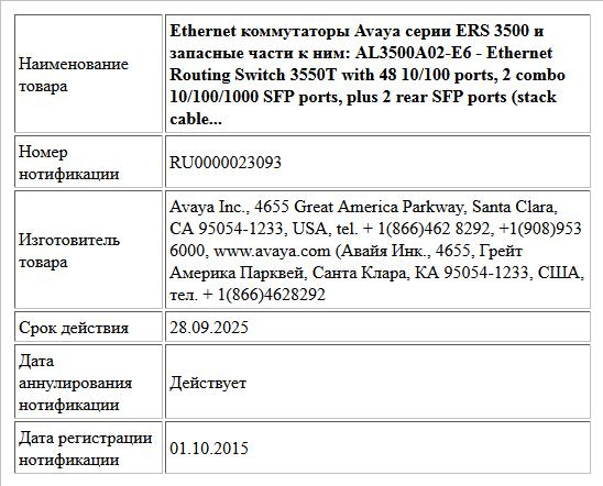 Ethernet коммутаторы Avaya серии ERS 3500 и запасные части к ним:   AL3500A02-E6 - Ethernet Routing Switch 3550T with 48 10/100 ports, 2 combo 10/100/1000 SFP ports, plus 2 rear SFP ports (stack cable...