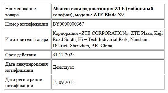 Абонентская радиостанция ZTE (мобильный телефон), модель: ZTE Blade  X9
