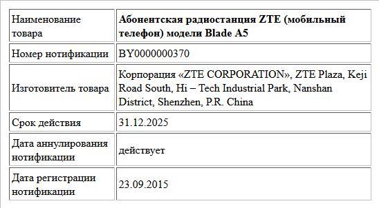 Абонентская радиостанция ZTE (мобильный телефон) модели Blade А5