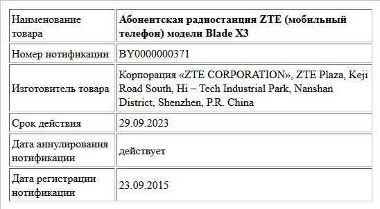 Абонентская радиостанция ZTE (мобильный телефон) модели Blade Х3