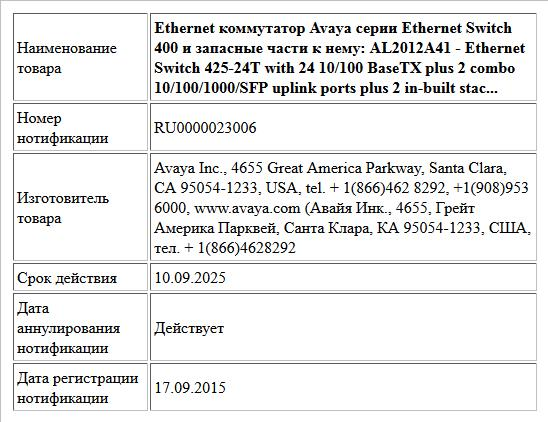 Ethernet коммутатор Avaya серии Ethernet  Switch 400 и запасные части к нему:   AL2012A41 - Ethernet Switch 425-24T with 24 10/100 BaseTX plus 2 combo 10/100/1000/SFP uplink ports plus 2 in-built stac...