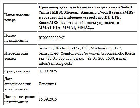 Приемопередающая базовая станция типа eNodeB (Smart MBS). Модель: Samsung eNodeB (SmartMBS) в составе: 1.1 цифровое устройство DU-LTE: SmartMBS, в составе: а) платы управления ММA1-E1A, MMA1, MMA2, MM...