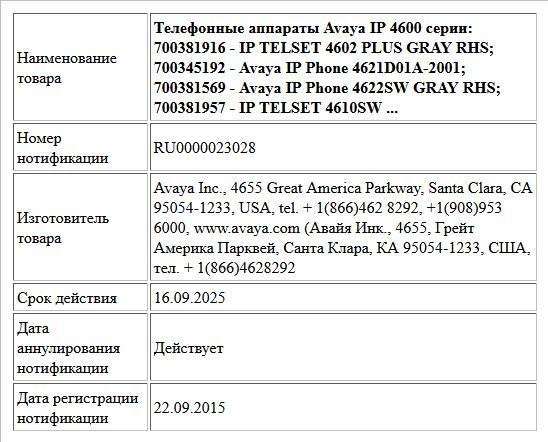 Телефонные аппараты Avaya IP 4600 серии:   700381916 - IP TELSET 4602 PLUS GRAY RHS; 700345192 - Avaya IP Phone 4621D01A-2001; 700381569 - Avaya IP Phone 4622SW GRAY RHS; 700381957 - IP TELSET 4610SW ...