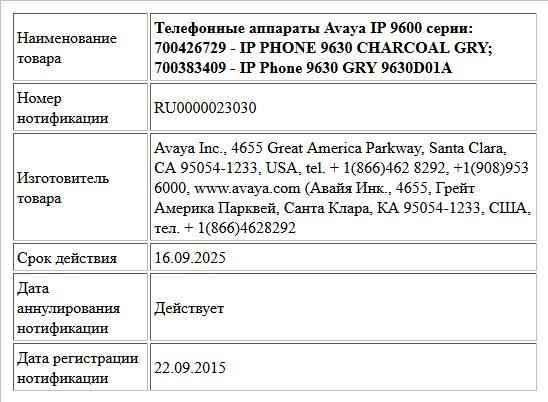 Телефонные аппараты Avaya IP 9600 серии: 700426729 - IP PHONE 9630 CHARCOAL GRY; 700383409 - IP Phone 9630 GRY 9630D01A