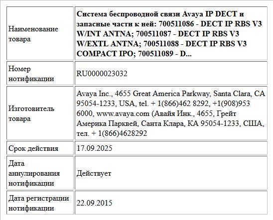 Система беспроводной связи Avaya IP DECT и запасные части к ней: 700511086 -  DECT IP RBS V3 W/INT ANTNA; 700511087 - DECT IP RBS V3 W/EXTL ANTNA; 700511088 - DECT IP RBS V3 COMPACT IPO; 700511089 - D...