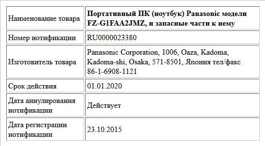 Портативный ПК (ноутбук) Panasonic модели FZ-G1FAA2JMZ, и запасные части к нему