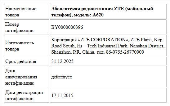 Абонентская радиостанция ZTE (мобильный телефон), модель: A620