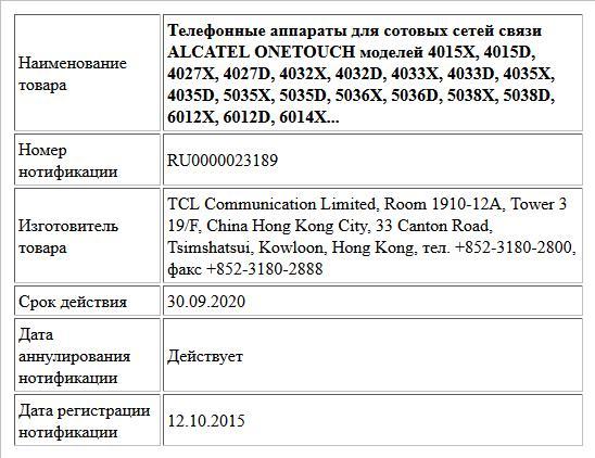 Телефонные аппараты для сотовых сетей связи ALCATEL ONETOUCH моделей 4015X, 4015D, 4027X, 4027D, 4032X, 4032D, 4033X, 4033D, 4035X, 4035D, 5035X, 5035D, 5036X, 5036D, 5038X, 5038D, 6012X, 6012D, 6014X...