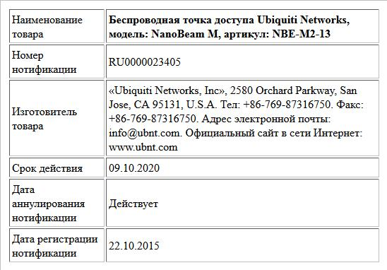 Беспроводная точка доступа Ubiquiti Networks, модель: NanoBeam M, артикул: NBE-M2-13
