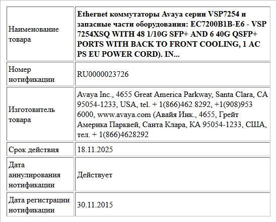 Ethernet коммутаторы Avaya серии VSP7254 и запасные части оборудования:    EC7200B1B-E6  -  VSP 7254XSQ WITH 48 1/10G SFP+ AND 6 40G QSFP+ PORTS WITH BACK TO FRONT COOLING, 1 AC PS EU POWER CORD).  IN...