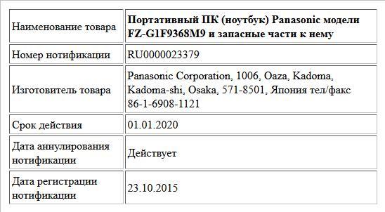 Портативный ПК (ноутбук) Panasonic модели FZ-G1F9368M9 и запасные части к нему