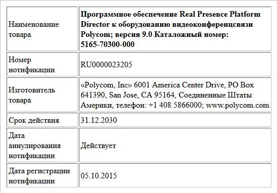 Программное обеспечение Real Presence Platform Director к оборудованию  видеоконференцсвязи Polycom; версия  9.0  Каталожный номер: 5165-70300-000