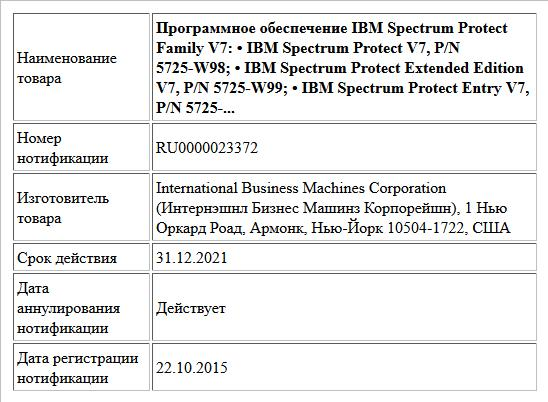 Программное обеспечение IBM Spectrum Protect Family V7:  • IBM Spectrum Protect V7, P/N 5725-W98;  • IBM Spectrum Protect Extended Edition V7, P/N 5725-W99;  • IBM Spectrum Protect Entry V7, P/N 5725-...