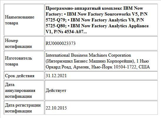 Программно-аппаратный комплекс IBM Now Factory:  • IBM Now Factory Sourceworks V5, P/N 5725-Q79;  • IBM Now Factory Analytics V8, P/N 5725-Q80;  • IBM Now Factory Analytics Appliance V1, P/Ns 4534-A07...