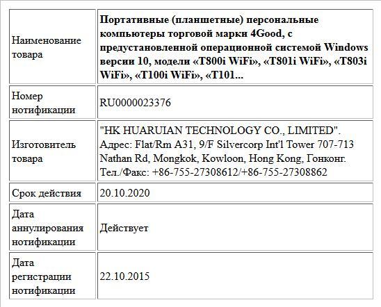 Портативные (планшетные) персональные компьютеры торговой марки 4Good, с предустановленной операционной системой Windows версии 10, модели «T800i WiFi», «T801i WiFi», «T803i WiFi», «T100i WiFi», «T101...