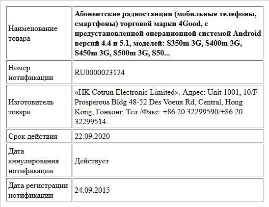 Абонентские радиостанции (мобильные телефоны, смартфоны) торговой марки 4Good, с предустановленной операционной системой Android версий 4.4 и 5.1, моделей:  S350m 3G, S400m 3G, S450m 3G, S500m 3G, S50...