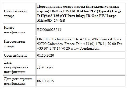 Персональные смарт-карты (интеллектуальные карты)  ID-One PIVTM   ID-One PIV (Type A) Large D Hybrid 125 (OT Prox inlay)  ID-One PIV Large MicroSD -2/4 GB
