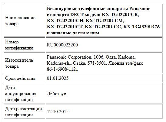 Бесшнуровые телефонные аппараты Panasonic стандарта DECT модели KX-TGJ320UCB, KX-TGJ320UCH, KX-TGJ320UCM, KX-TGJ320UCT, KX-TGJ320UCC,  KX-TGJ320UCW и запасные части к ним