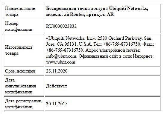 Беспроводная точка доступа Ubiquiti Networks, модель: airRouter, артикул: AR