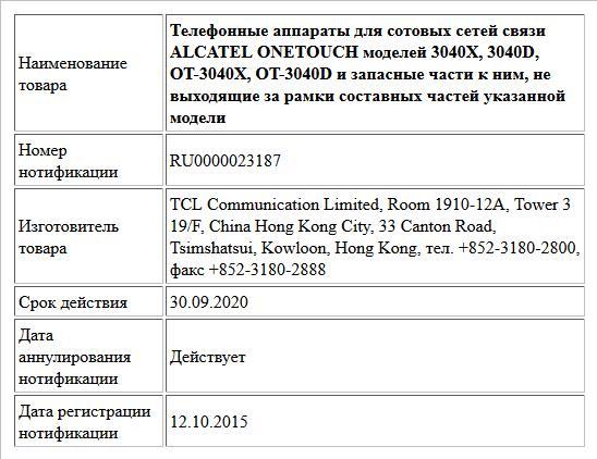 Телефонные аппараты для сотовых сетей связи ALCATEL ONETOUCH моделей 3040X, 3040D, OT-3040X, OT-3040D и запасные части к ним, не выходящие за рамки составных частей указанной модели