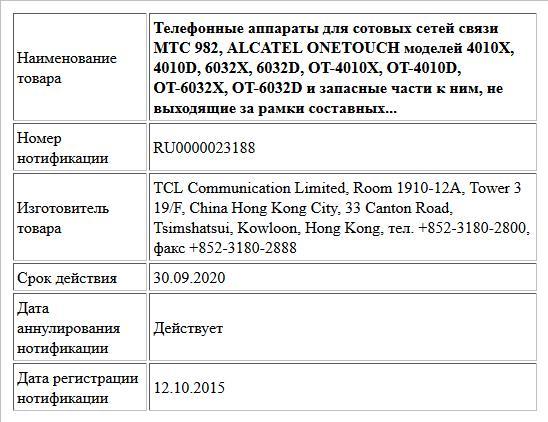 Телефонные аппараты для сотовых сетей связи MTC 982, ALCATEL ONETOUCH моделей 4010X, 4010D, 6032X, 6032D, OT-4010X, OT-4010D, OT-6032X, OT-6032D и запасные части к ним, не выходящие за рамки составных...