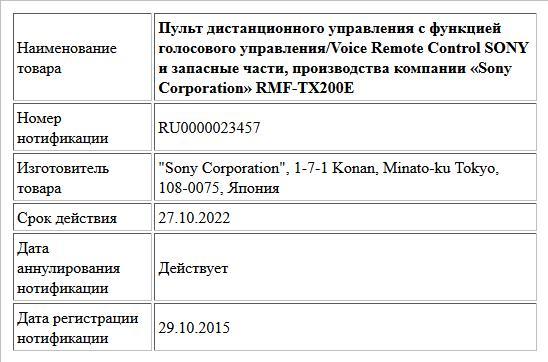 Пульт дистанционного управления с функцией голосового управления/Voice Remote Control SONY и запасные части, производства компании «Sony Corporation»    RMF-TX200E