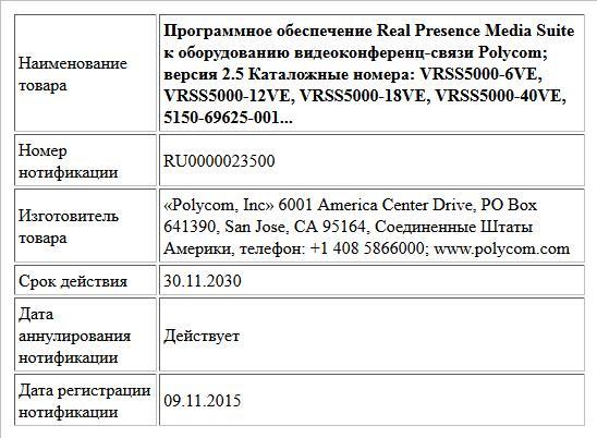 Программное обеспечение Real Presence Media Suite к оборудованию видеоконференц-связи Polycom; версия 2.5  Каталожные номера:  VRSS5000-6VE, VRSS5000-12VE, VRSS5000-18VE, VRSS5000-40VE, 5150-69625-001...